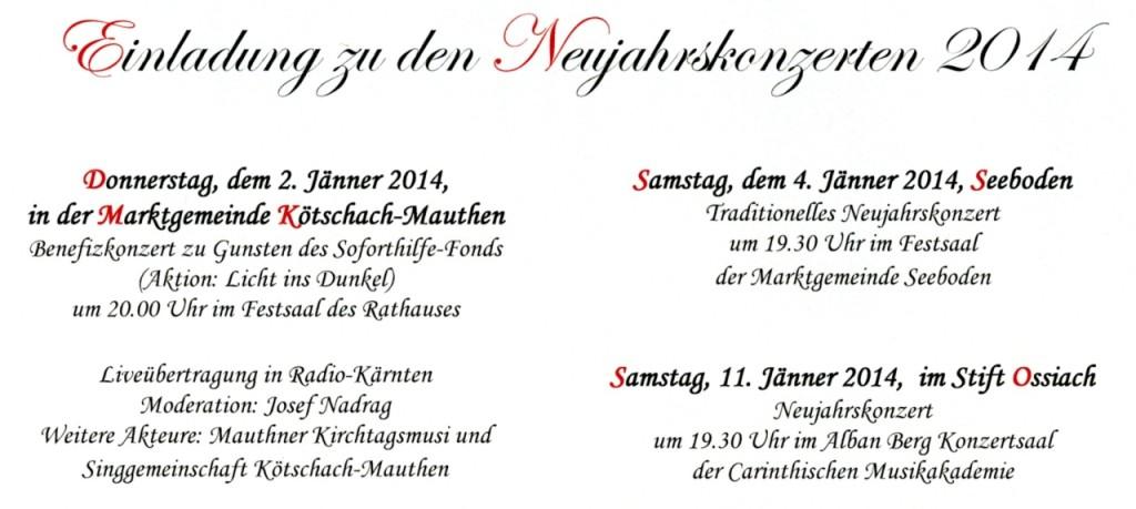 Einladung Neujahrskonzerte 2014